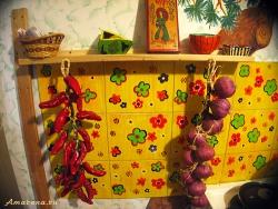 Роспись плитки в интерьере кухни